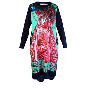 Tiffany Treloar Print Sweater Dress Our Lady of the Coffee Pot Multi Front