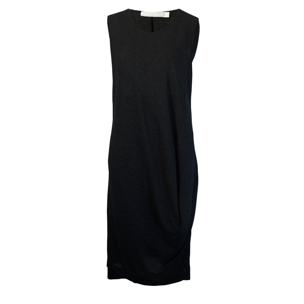 Tiffany Treloar Drape Tencel Dress Black Front
