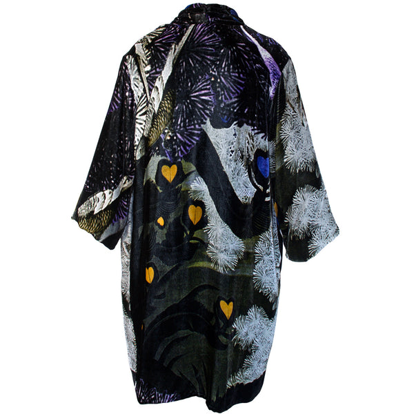 Tiffany Treloar Print Silk Velvet Duster Lovebirds Back