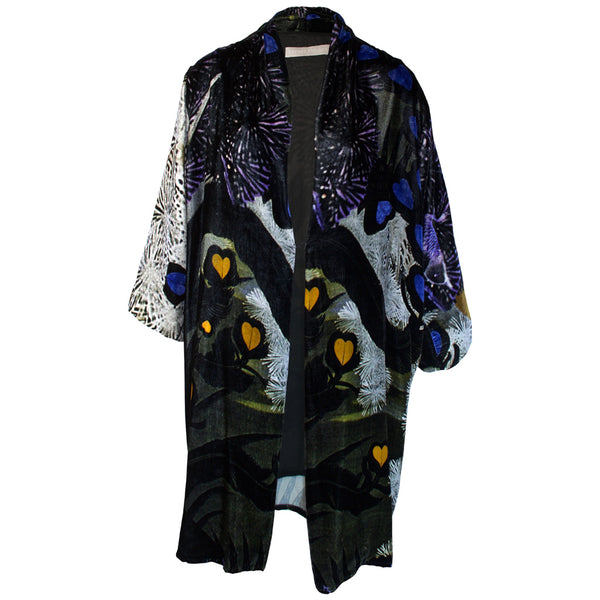 Tiffany Treloar Print Silk Velvet Duster Lovebirds Front
