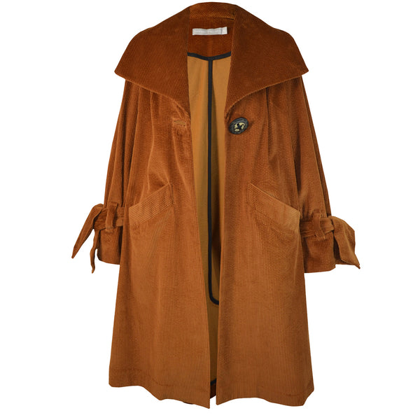 Tiffany Treloar Cotton Cord Coat Caramel Front Open
