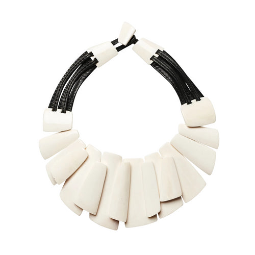 Monies, Laura Necklace White + Black - Tiffany Treloar