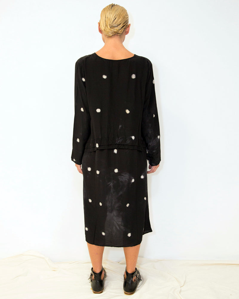 33 Poets Small Dot Empire Dress Black Back