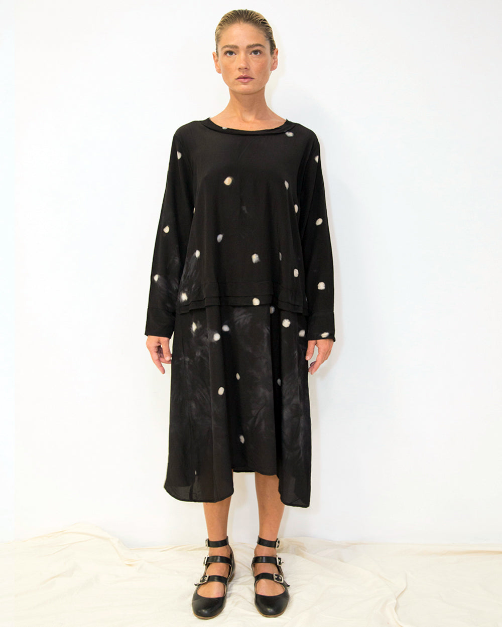 33 Poets Small Dot Empire Dress Black Front