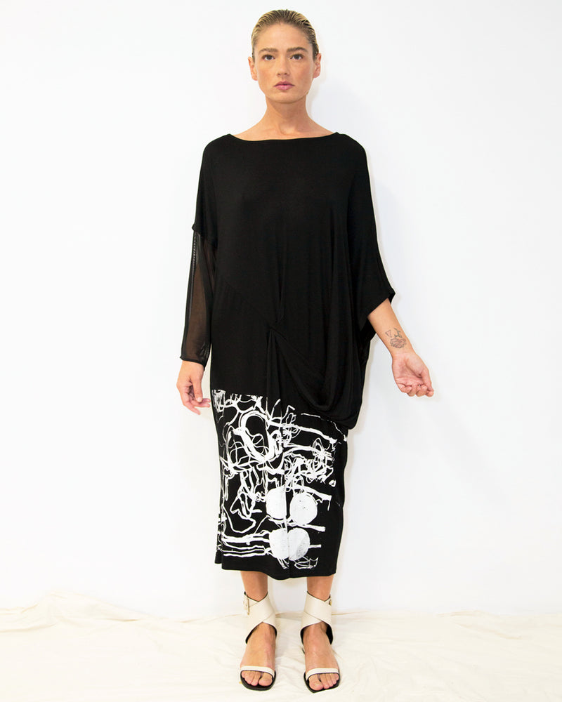 33 Poets, Printed Scribble Adua Dress Black - Tiffany Treloar