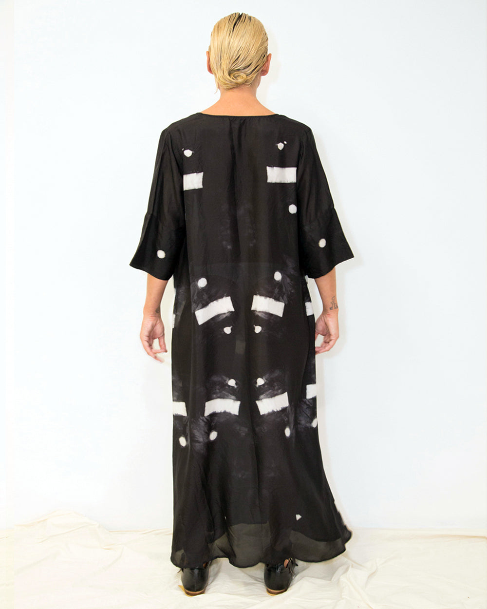 33 Poets Long Shibori Bar Dress Black Back