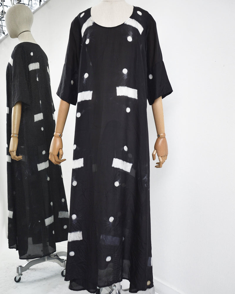 33 Poets Long Shibori Bar Dress Black