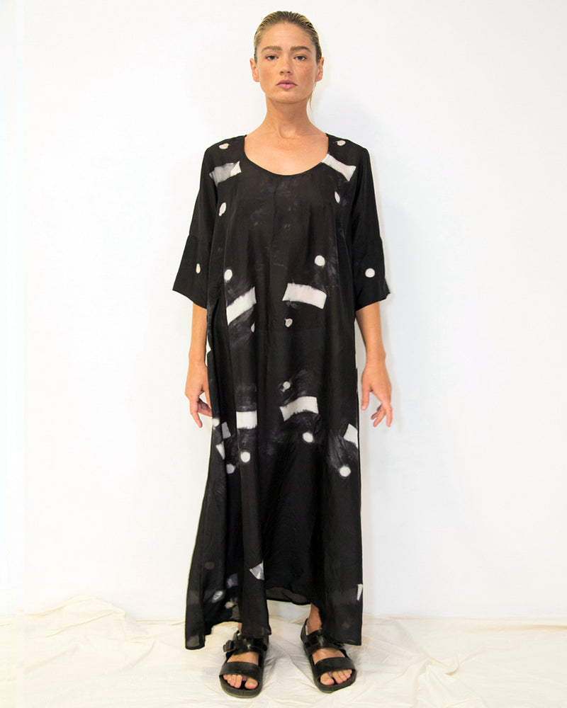 33 Poets Long Shibori Bar Dress Black Front