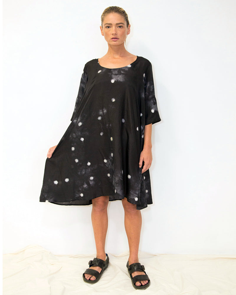 Small Dot Empire Dress Black