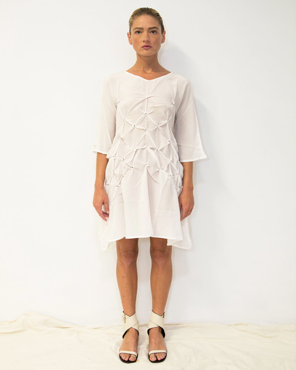 33 Poets Knot Dress Tunic White Front