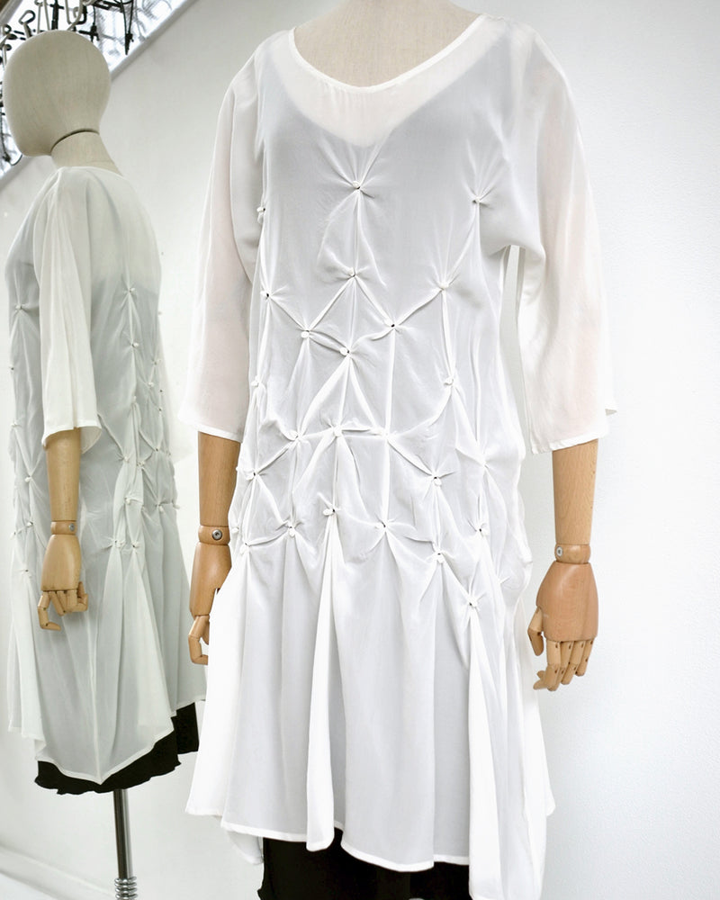 Silk Knot Dress Tunic White