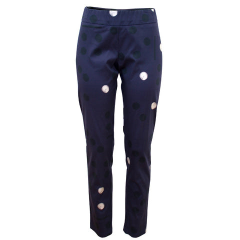 Tiffany Treloar Print Cotton Phebe Pant Domino Navy Front