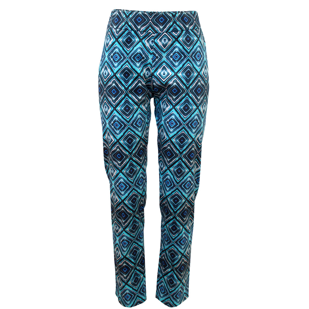Tiffany Treloar Print Cotton Phebe Pant Diamond Blue Front
