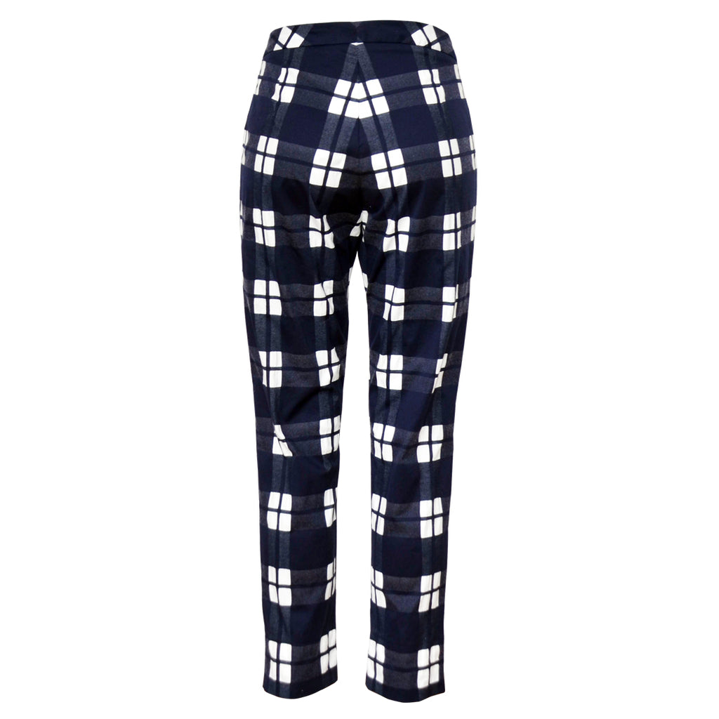 Tiffany Treloar Cotton Pant Navy Check Back