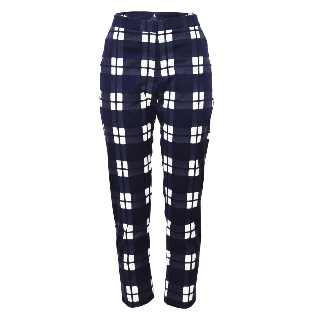 Tiffany Treloar Cotton Pant Navy Check Front