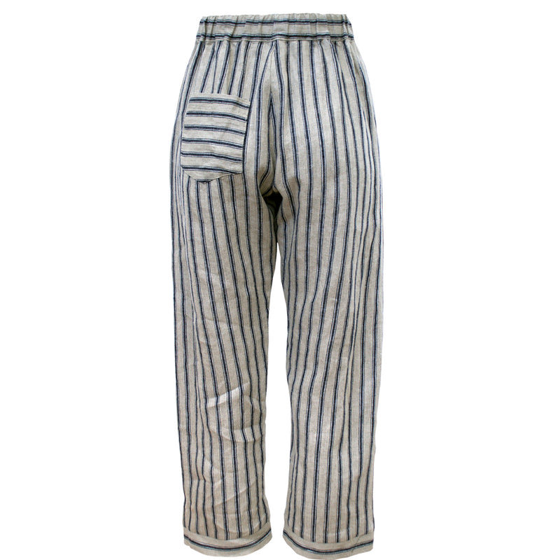 Tiffany Treloar Linen Pant Navy Ticking Back