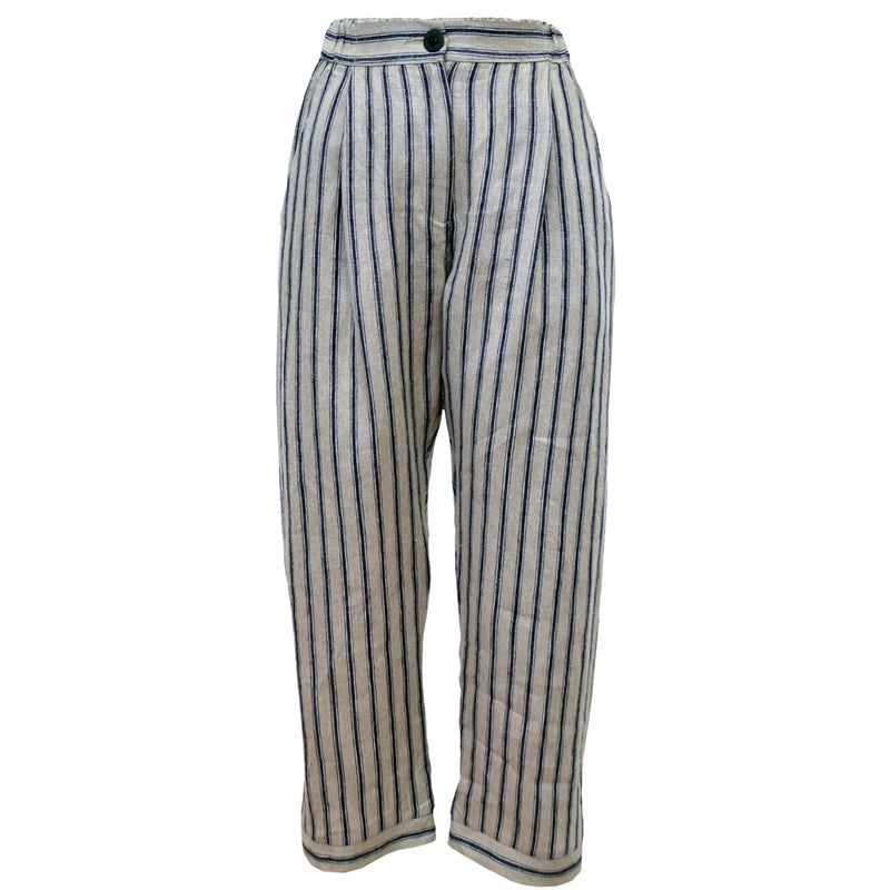 Tiffany Treloar Linen Pant Navy Ticking Front
