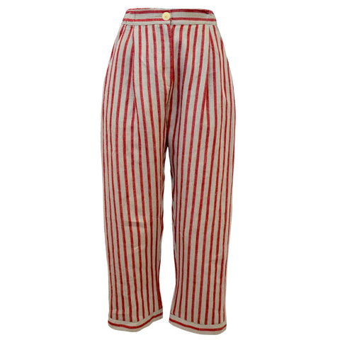 Tiffany Treloar Linen Pant Cherry Ticking Front