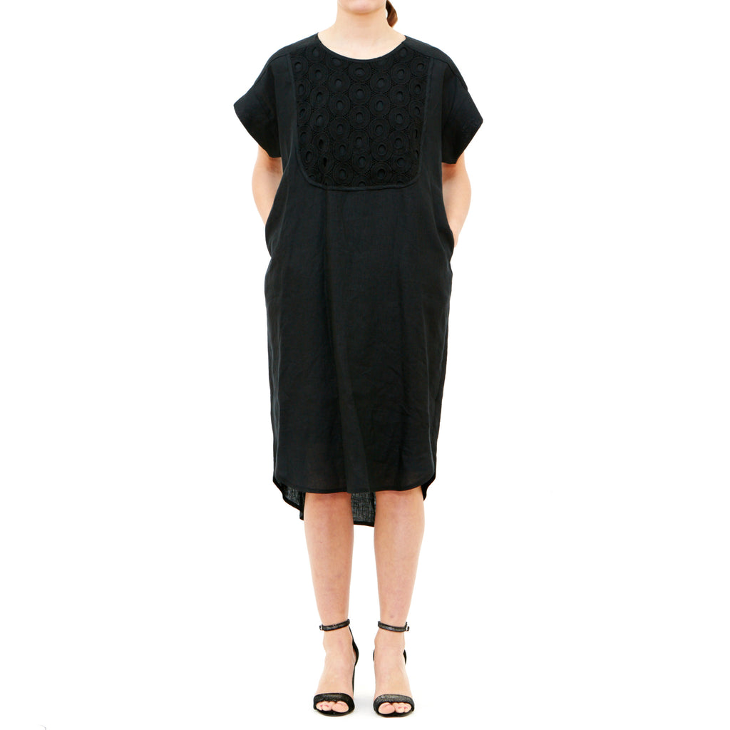 Black Linen Dress w/ Circles Embroidery Bib