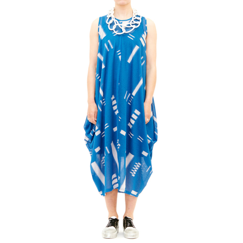Tiffany Treloar, Woopie Blue & Ivory Drape Dress - Tiffany Treloar