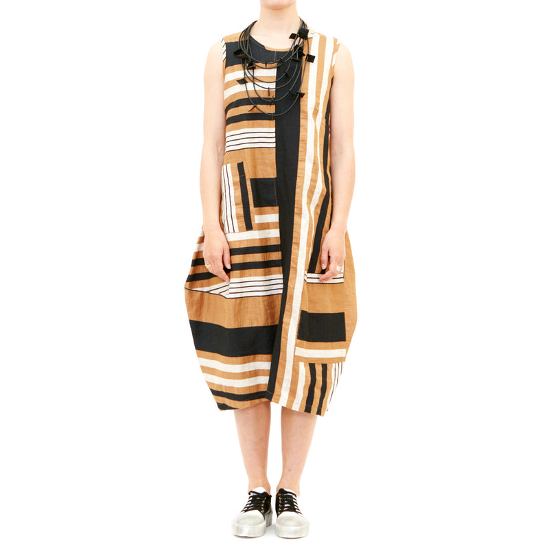 Italian Linen Bop Dress Camel Stripe