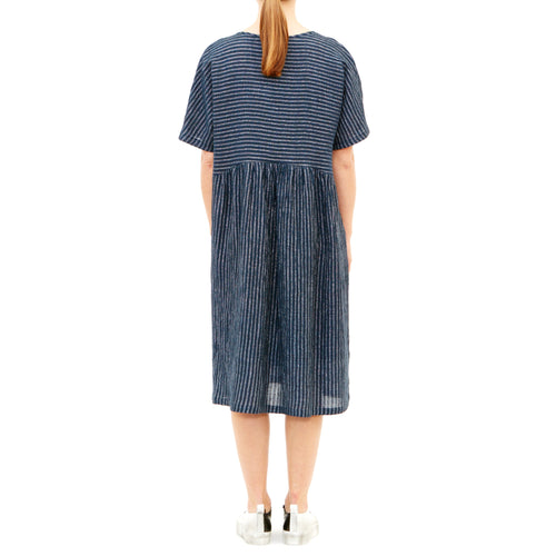 Tiffany Treloar, Half Moon Denim Lurex 3/4 Linen Dress - Tiffany Treloar