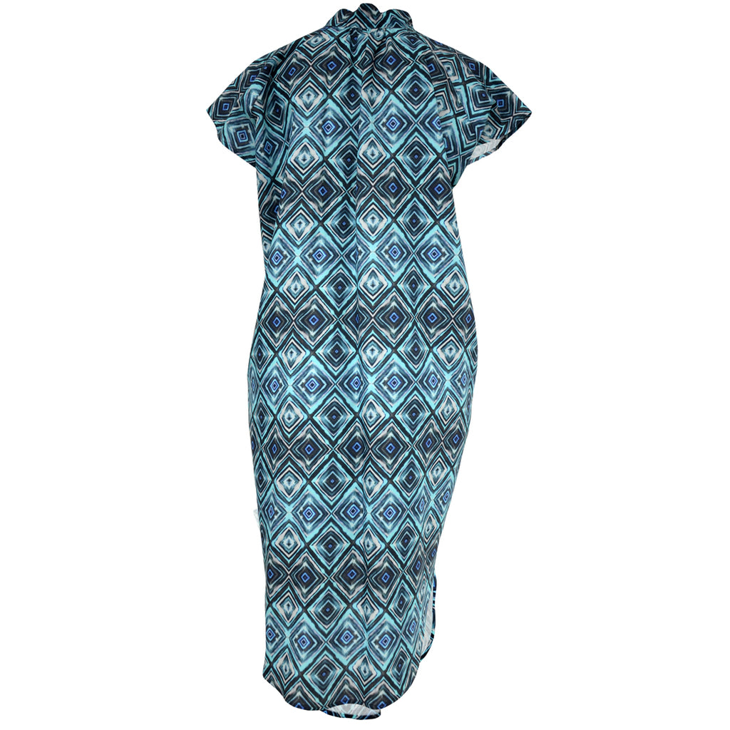 Tiffany Treloar Diamond Blue Pippa Printed Linen Dress Back