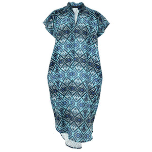 Tiffany Treloar Diamond Blue Pippa Printed Linen Dress Front