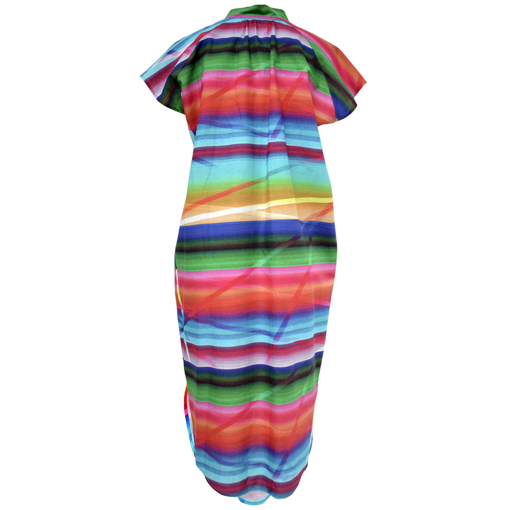 Tiffany Treloar Rainbow Pippa Printed Linen Dress Back