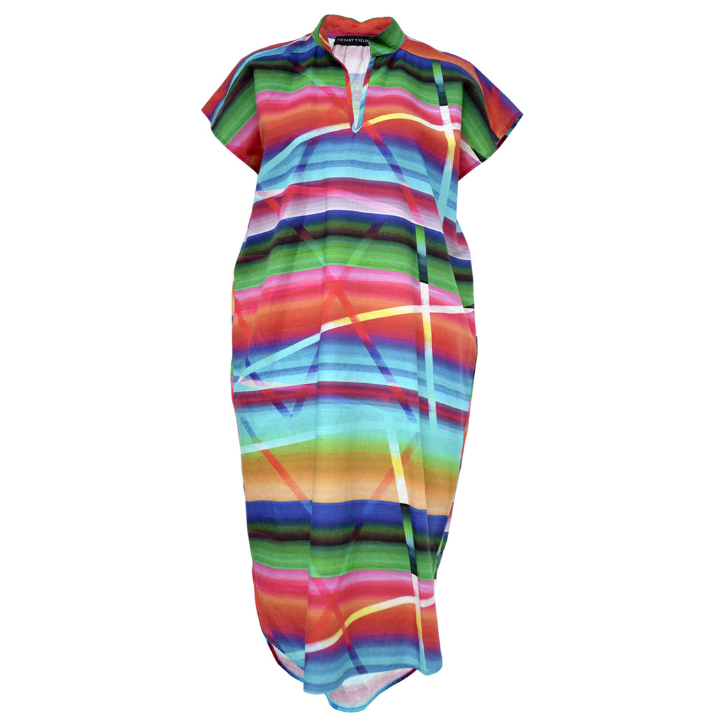 Tiffany Treloar Rainbow Pippa Printed Linen Dress Front
