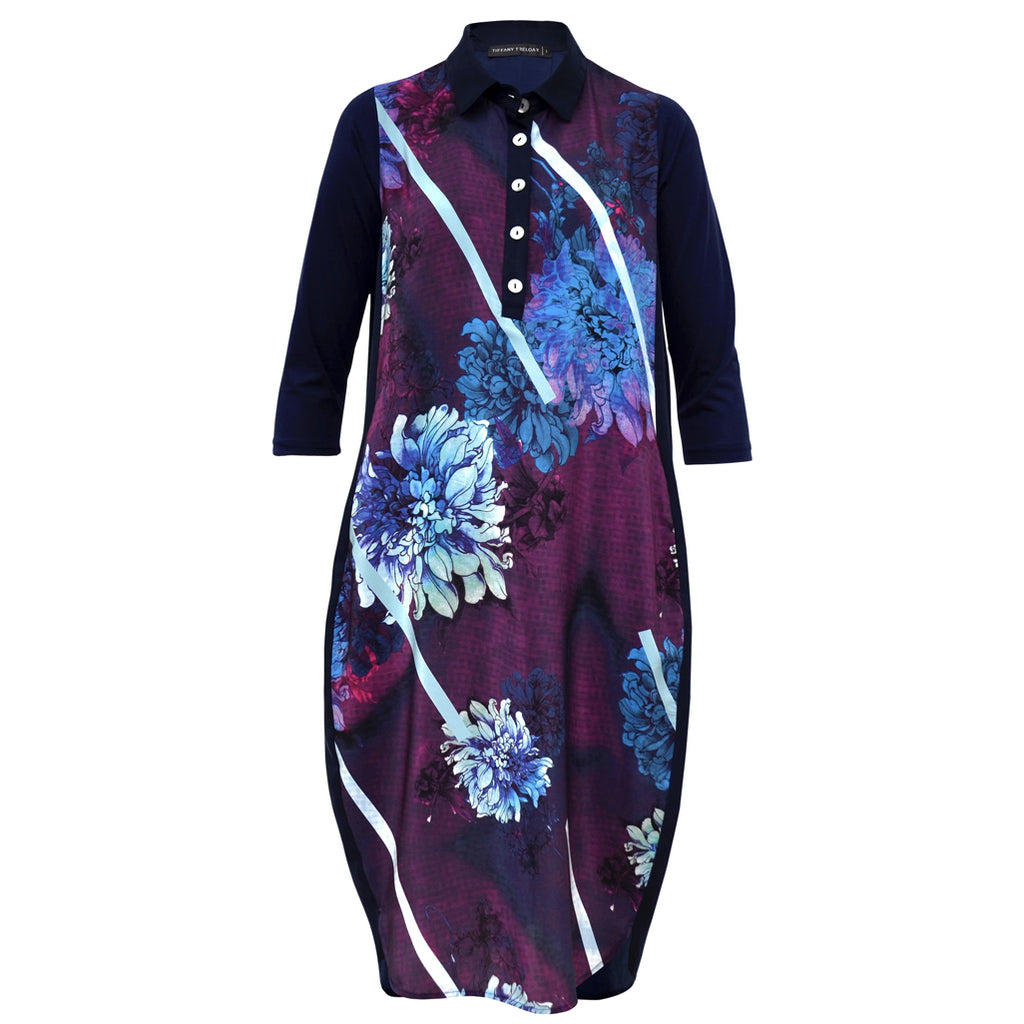 Tiffany Treloar Printed Silk Shirt Dress Dahlia Front