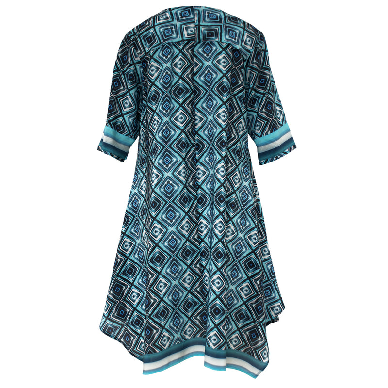 Tiffany Treloar Printed Silk Tunic Dress Ink Blue Back