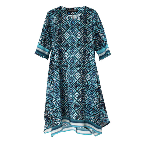 Tiffany Treloar Printed Silk Tunic Dress Ink Blue Front
