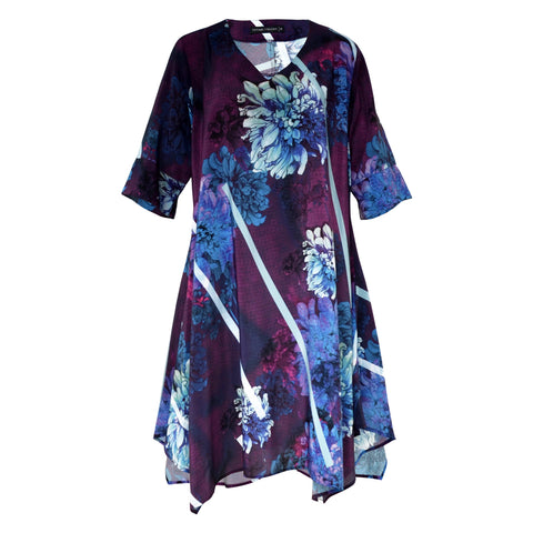 Tiffany Treloar Printed Silk Tunic Dress Dahlia Front