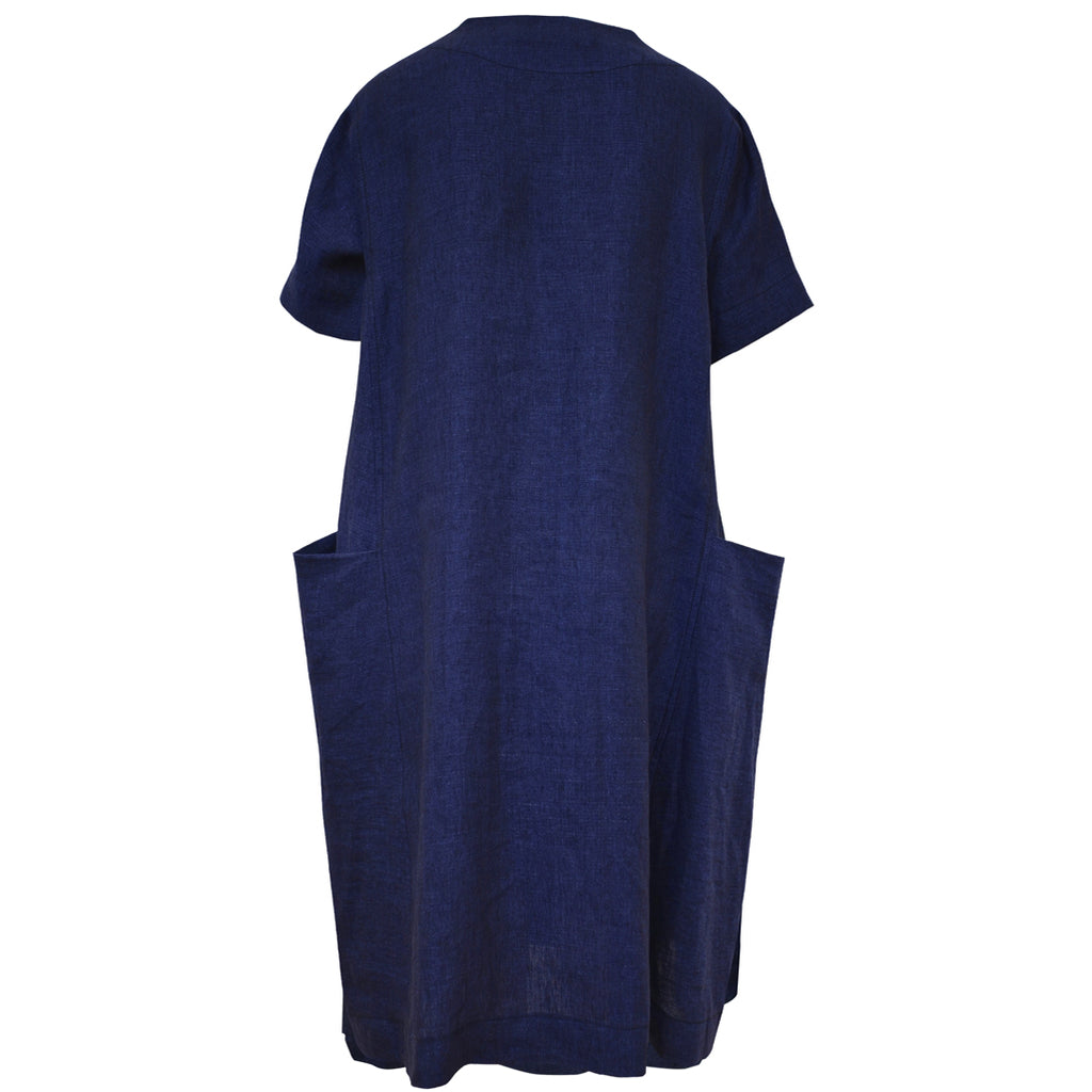 Tiffany Treloar Linen Box Dress Blue Atlantis Back