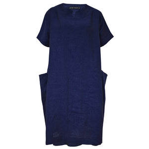 Tiffany Treloar Linen Box Dress Blue Atlantis Front