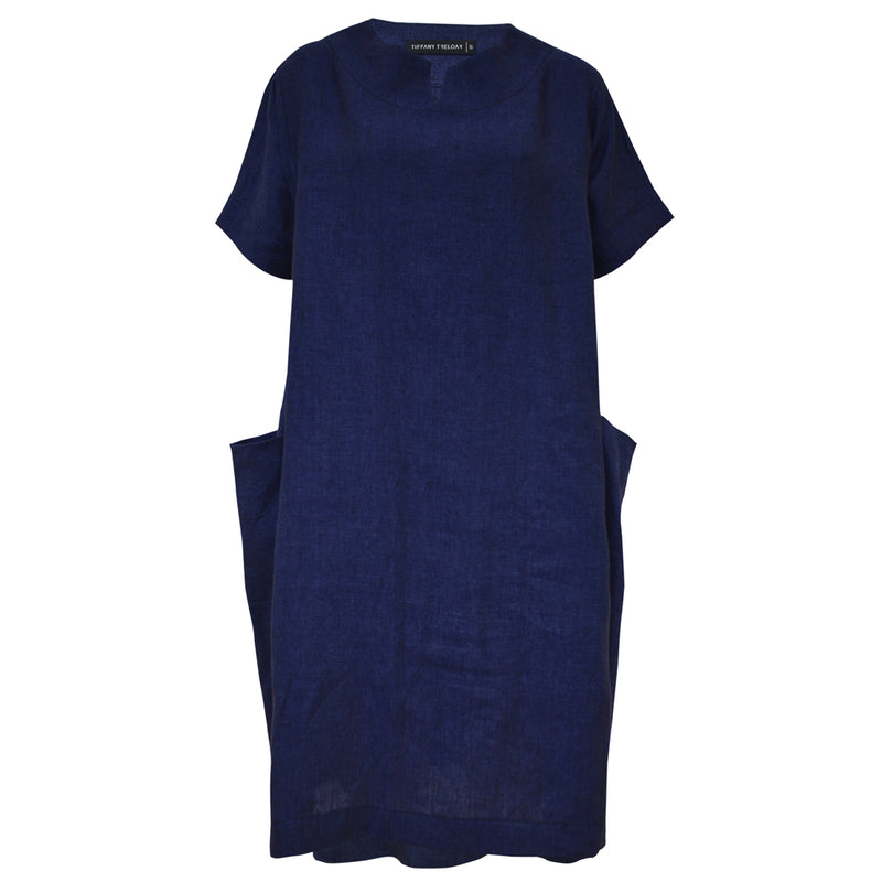 Tiffany Treloar, Linen Box Dress Blue Atlantis - Tiffany Treloar