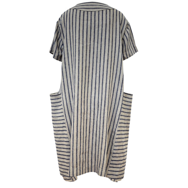 Tiffany Treloar Linen Box Dress Navy Ticking Back