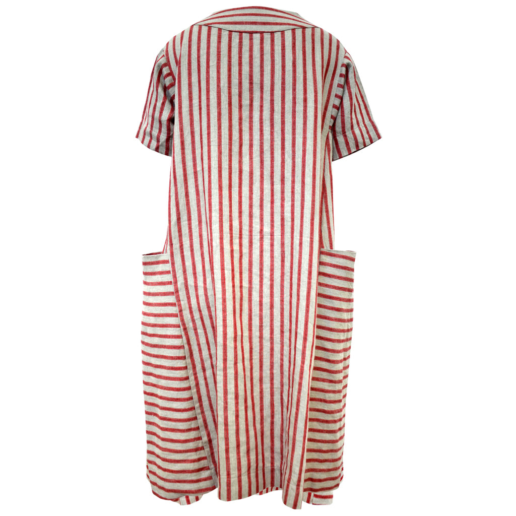Tiffany Treloar Linen Box Dress Cherry Ticking Back