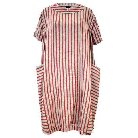 Tiffany Treloar Linen Box Dress Cherry Ticking Front