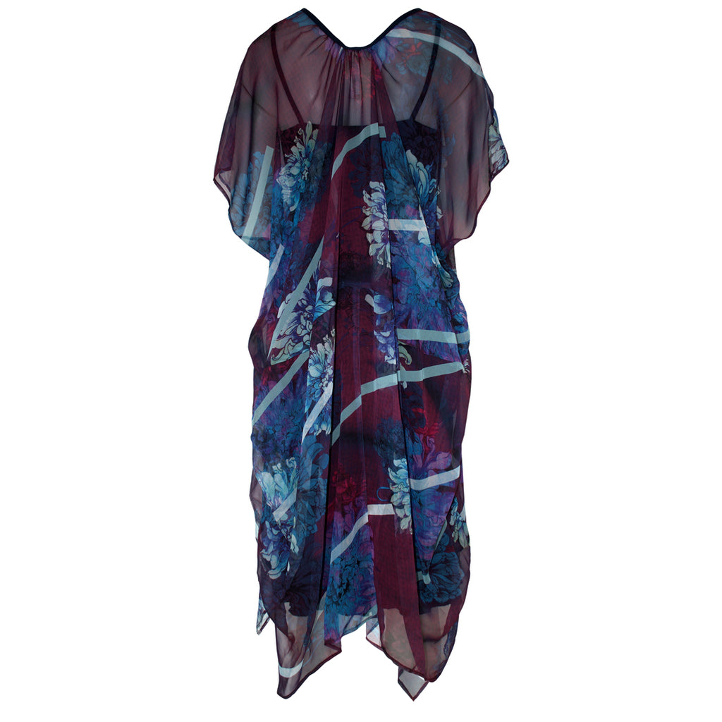 Tiffany Treloar Silk Georgette New Butterfly Dress Blue Dahlia Back