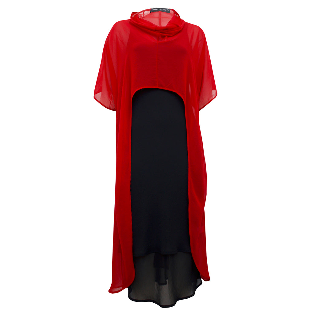 Tiffany Treloar Melanie Georgette Overdress Red