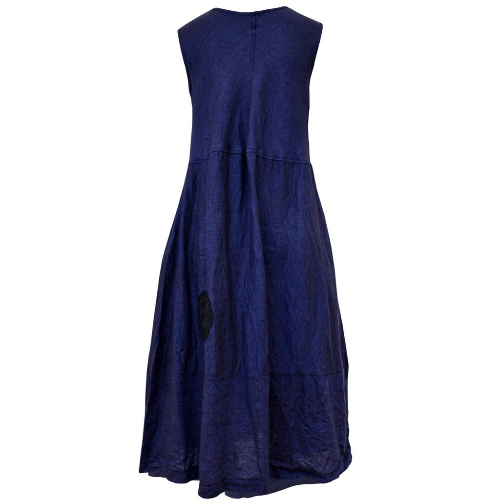 Tiffany Treloar Linen Bias Dress Blue Atlantis Back
