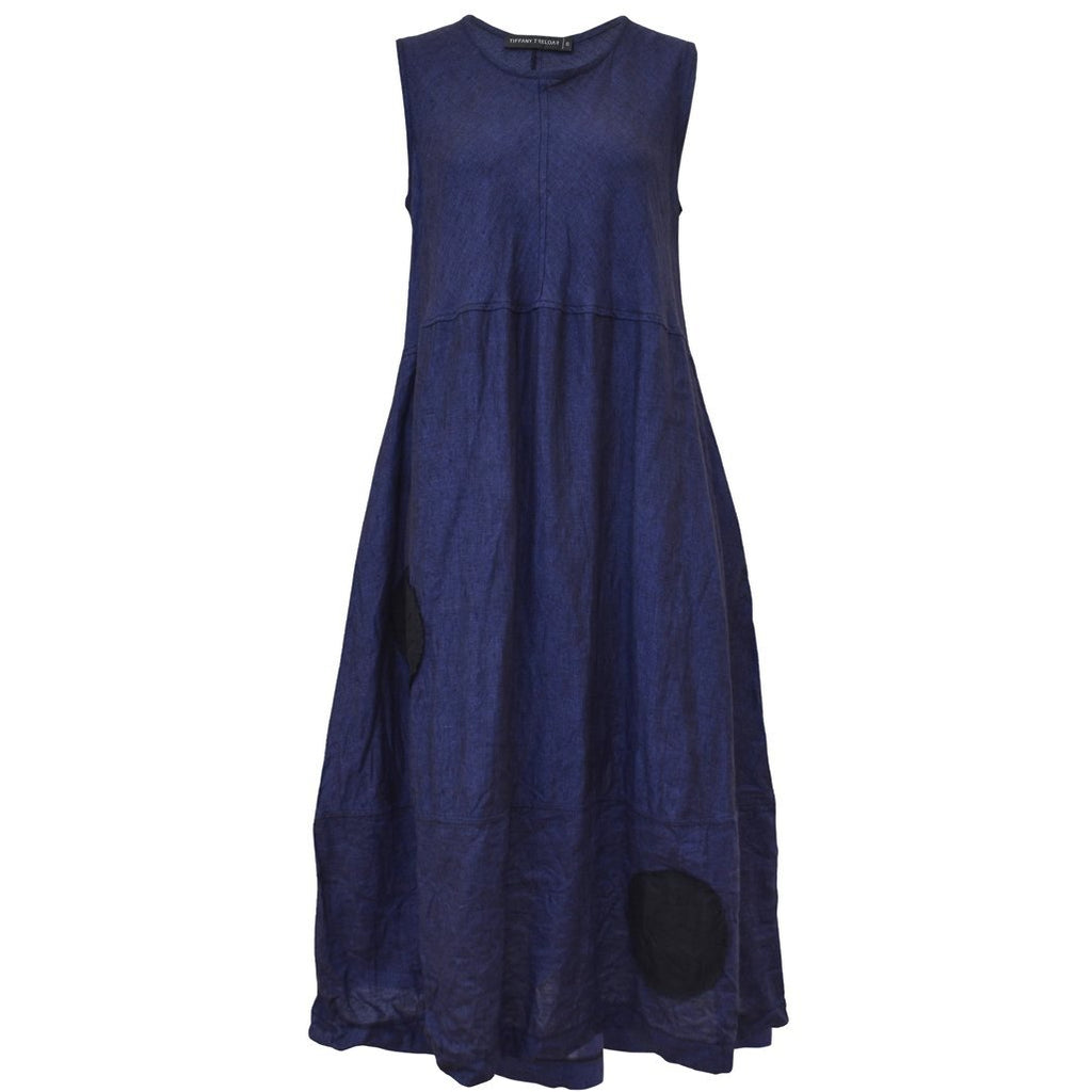 Tiffany Treloar Linen Bias Dress Blue Atlantis Front