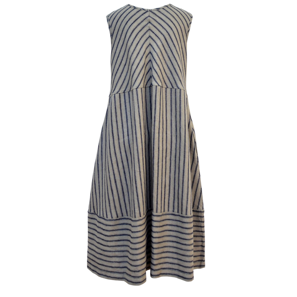 Tiffany Treloar Linen Bias Dress Navy Ticking Back
