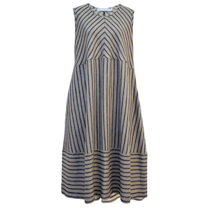 Tiffany Treloar Linen Bias Dress Navy Ticking Front