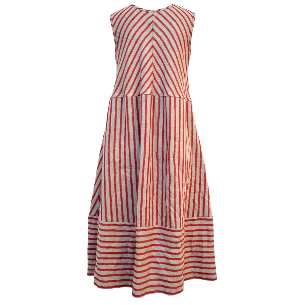 Tiffany Treloar Linen Bias Dress Cherry Ticking Back