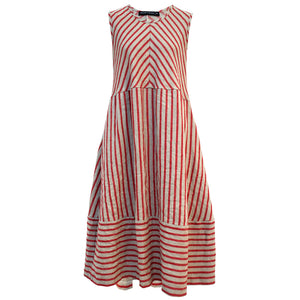 Tiffany Treloar Linen Bias Dress Cherry Ticking Front