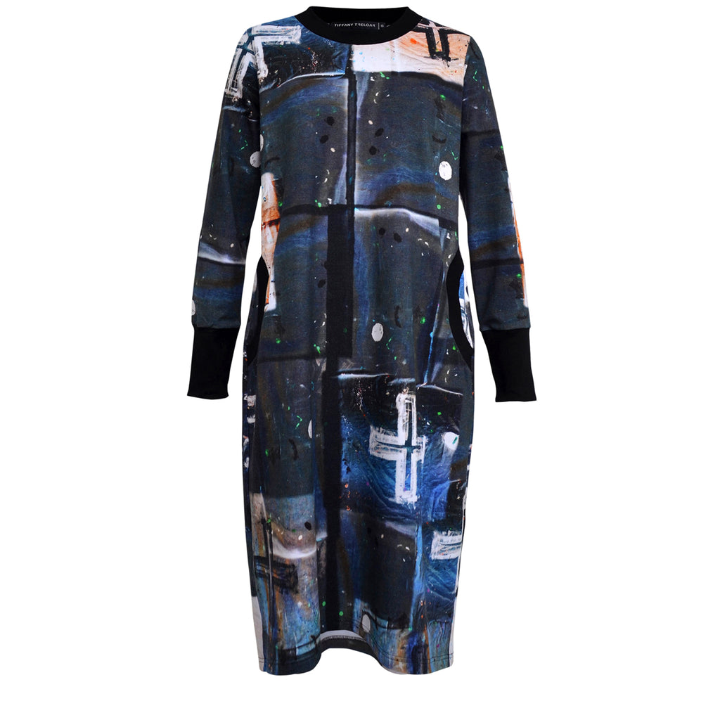 Tiffany Treloar Crossfire print sweater dress front