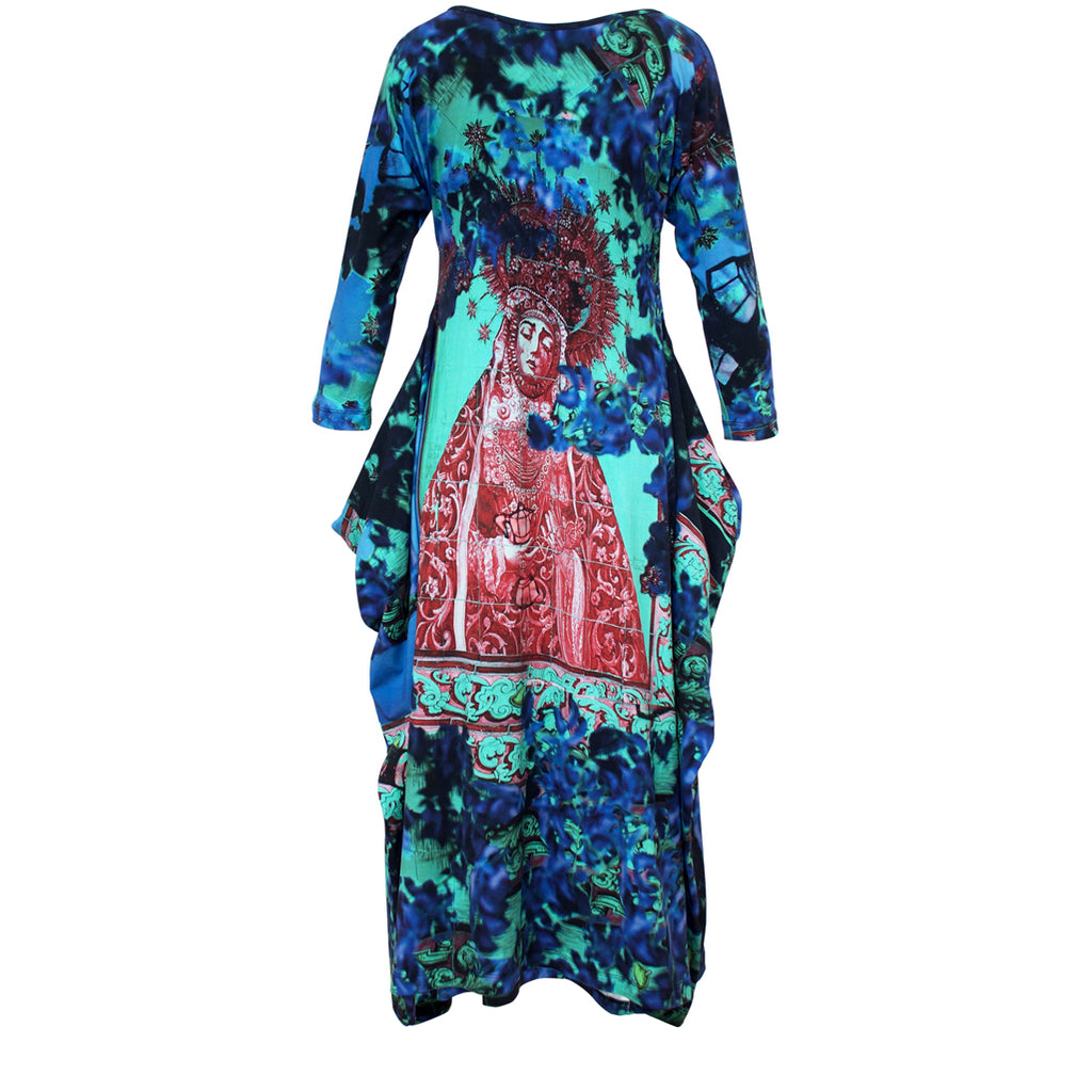 Tiffany Treloar Print Cotton Zero Dress Lady of the Coffee Pot Back